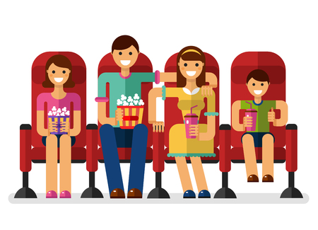 watching movie: flat style illustration of happy family in the cinema with popcorn and soda watching movie. People, family in the cinema concept isolated on white background. Illustration