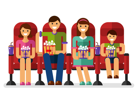 son of man: flat style illustration of happy family in the cinema with popcorn and soda watching movie. People, family in the cinema concept isolated on white background. Illustration