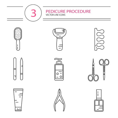 separator: modern line style icons set of beauty, makeup and cosmetics products. Cream, scissors, nail files, nail polish, electric foot file, fingers separator. Pedicure procedure. Illustration