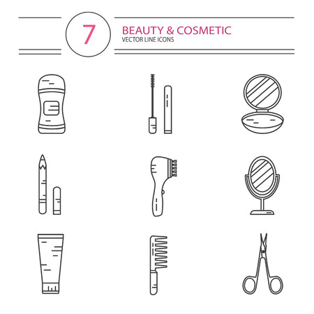 hair brush: modern line style color icons set of beauty, makeup and cosmetics products. Deodorant, scissors, mascara, mirror, hair brush, cream, eyeliner, fingers separator, face powder.