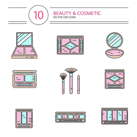 pallette: modern line style color icons set of beauty, makeup and cosmetics products. Different types of shadow pallette, compact powder, blush or concealer with brushes. Isolated on white background.
