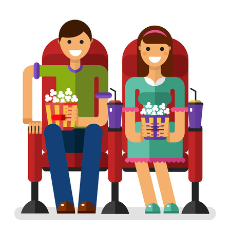 velvet dress: flat style illustration of young smiling girl and boy in the cinema with popcorn and soda watching movie. People, couple, date in the cinema concept isolated on white background.