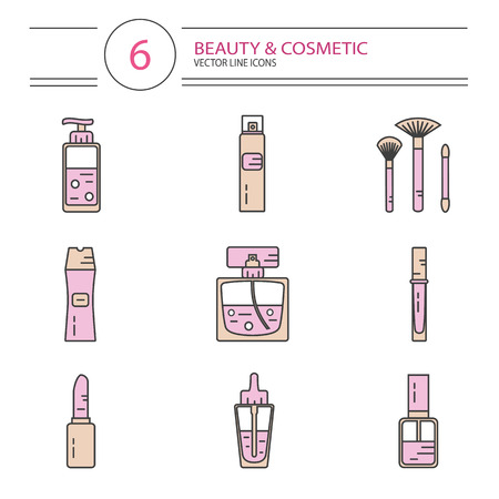 lip gloss: modern line style color icons set of beauty, makeup and cosmetics products. Perfume bottle, shampoo, lipstick, lip gloss, nail polish, brushes, hair spray or deodorant spray, oil.