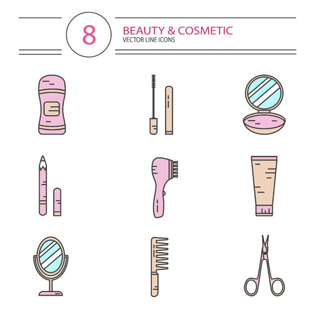 separator: modern line style color icons set of beauty, makeup and cosmetics products. Deodorant, scissors, mascara, mirror, hair brush, cream, eyeliner, fingers separator, face powder.