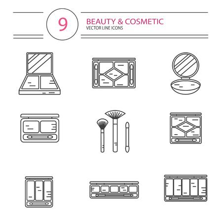 pallette: icônes de style de ligne modernes mis de la beauté, le maquillage et les produits cosmétiques. Différents types de pallette d'ombre, poudre compacte, fard à joues ou anticernes avec des brosses. Isolé sur fond blanc.