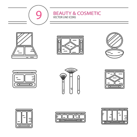 pallette: modern line style icons set of beauty, makeup and cosmetics products. Different types of shadow pallette, compact powder, blush or concealer with brushes. Isolated on white background. Illustration
