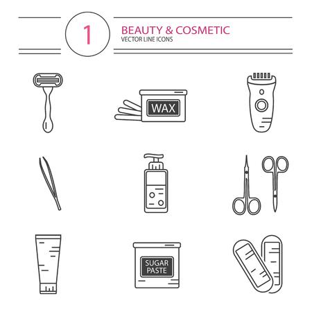 cosméticos modernos de estilo de línea de conjunto de iconos de la depilación. Botella de cera, botella de pasta de azúcar para azucarar, tijeras, tiras de cera, maquinilla de afeitar, pinza de cejas, podadoras.