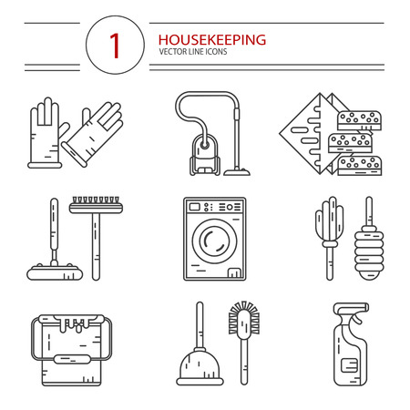 wiper: Vector modern line style icons set of household cleaning. Vacuum cleaner, washing machine, gloves, brush, mop, wiper, sponges, plunger, brush, bucket, broom. Housekeeping equipment, accessories. Illustration