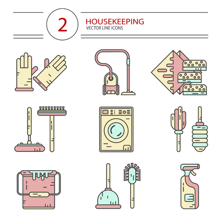 wiper: Vector modern line style color icons set of household cleaning. Vacuum cleaner, washing machine, gloves, brush, wiper, sponges, plunger, brush, bucket, broom. Housekeeping equipment, accessories.