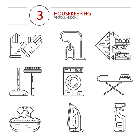 sponges: Vector modern line style icons set of household cleaning. Vacuum cleaner, washing machine, gloves, iron, ironing board, brush and mop, wiper, sponges. Housekeeping equipment, accessories.