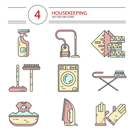 wiper: Vector modern line style color icons set of household cleaning. Vacuum cleaner, washing machine, gloves, iron, ironing board, brush and mop, wiper, sponges. Housekeeping equipment, accessories.