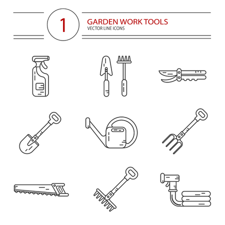 secateurs: Vector modern line style icons set of garden work tools: secateurs, spray, watering can, shovel, rake, fork, saw. Gardening and agriculture concept. Illustration