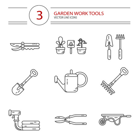 gardening hose: Vector modern line style icons set of garden work tools: secateurs, watering can, shovel, rake, garden cart, garden hose. Gardening and agriculture concept. Illustration