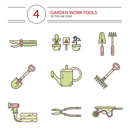 modern garden: Vector modern line style color icons set of garden work tools: secateurs, watering can, shovel, rake, garden cart, garden hose. Gardening and agriculture concept.