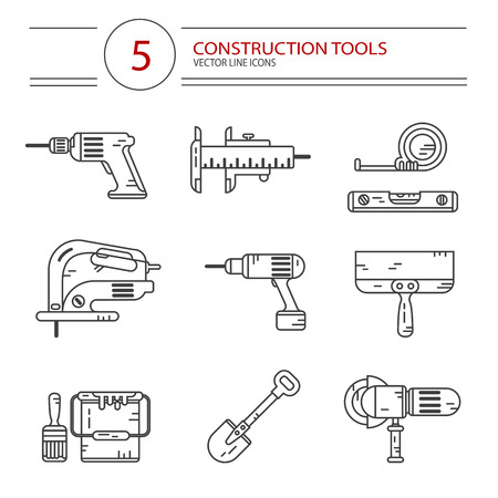 jig: Vector modern line style icons set of construction tools: drill, spatula, shovel, electric jig saw, angle grinder, screwdriver, paint bucket, brush, tape line, scale. Isolated on white background.