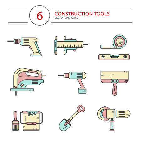 jig: Vector modern line style color icons set of construction tools: drill, spatula, shovel, electric jig saw, angle grinder, screwdriver, paint bucket, brush, tape line, scale. Isolated on white. Illustration