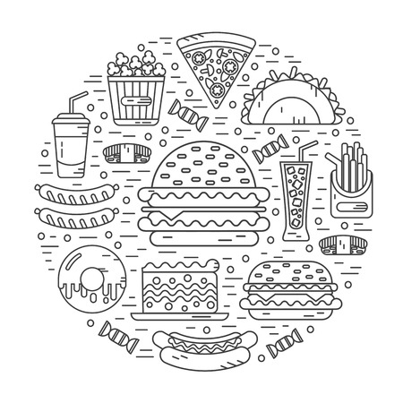 donut style: Vector modern line style icons concept of fast food, junk food. Tacos, popcorn, cheeseburger, hamburger, soda, sausage, french fries, sushi, donut, pizza, cake. Round shape illustration.