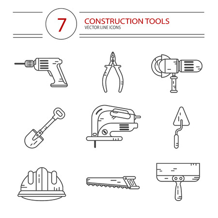 jig: Vector modern line style icons set of construction tools: pliers, drill, spatula, helmet, shovel, saw, electric jig saw, angle grinder. Isolated on white background.