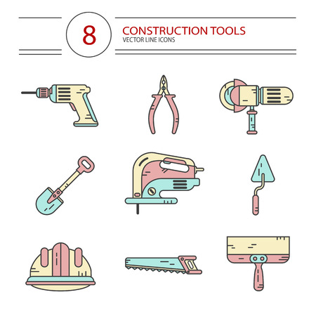 jig: Vector modern line style color icons set of construction tools: pliers, drill, spatula, helmet, shovel, saw, electric jig saw, angle grinder. Isolated on white background.