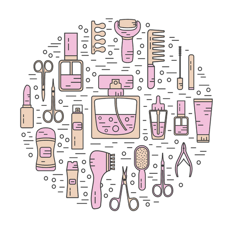 lip gloss: Vector modern line style color icons concept of beauty, makeup and cosmetics products. Perfume bottle, shampoo, lipstick, lip gloss, nail polish, brushes, deodorant, brush. Round shape illustration. Illustration