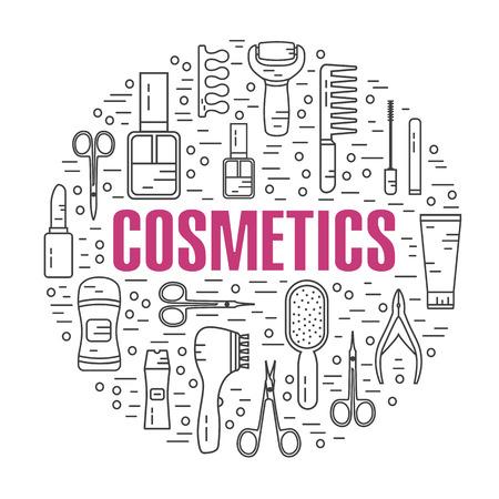 lip gloss: Vector modern line style illustration of beauty, makeup and cosmetics products. Perfume bottle, shampoo, lipstick, lip gloss, nail polish, brushes, deodorant, brush. Round shape icons set.
