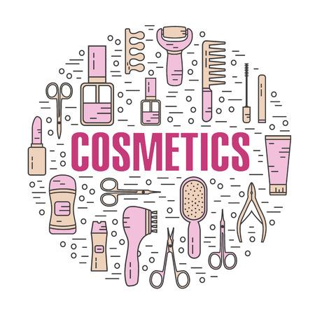 lip gloss: Vector modern line style color illustration of beauty, makeup and cosmetics products. Perfume bottle, shampoo, lipstick, lip gloss, nail polish, brushes, deodorant, brush. Round shape icons set. Illustration