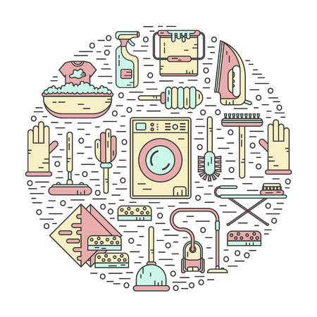 brush cleaner: Vector line style color icons concept of housekeeping or household cleaning. Vacuum cleaner, washing machine, gloves, brush, brush, bucket, broom, iron, wiper, sponges. Round shape illustration.