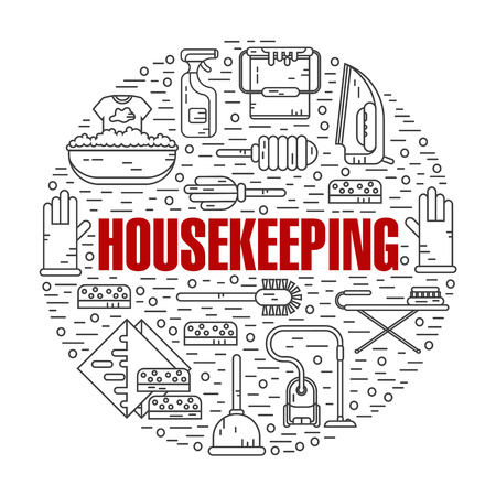 sponges: Vector modern line style color illustration of housekeeping. Vacuum cleaner, washing machine, gloves, brush, brush, bucket, broom, iron, wiper, sponges. Round shape icons concept.
