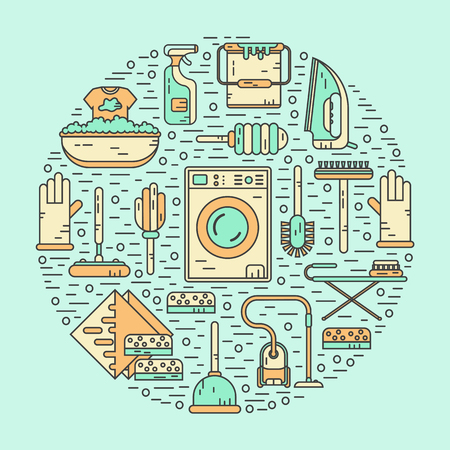 sponges: Vector line style color icons concept of housekeeping or household cleaning. Vacuum cleaner, washing machine, gloves, brush, brush, bucket, broom, iron, wiper, sponges. Round shape illustration.