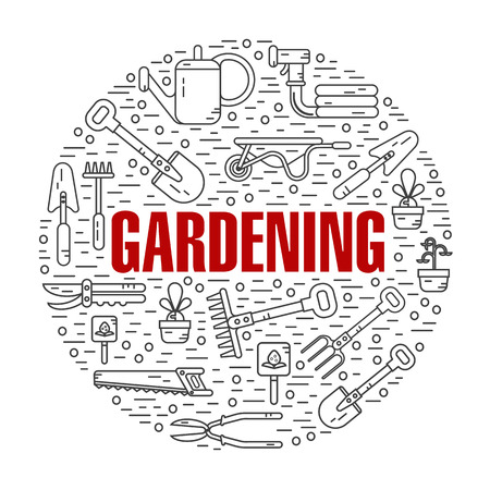 gardening hose: Vector modern line style color illustration of garden work tools. Secateurs, watering can, shovel, rake, garden cart, garden hose, fork, saw. Gardening and agriculture round shape icons concept. Illustration