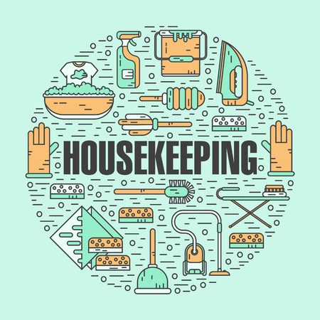 wiper: Vector modern line style color illustration of housekeeping. Vacuum cleaner, washing machine, gloves, brush, brush, bucket, broom, iron, wiper, sponges. Round shape icons concept.