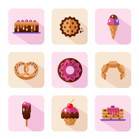 glaze: Vector flat style icons of sweets and candies products. Dessert icons set. Donut with glaze, cake, cookie, croissant, pretzel, pancakes, muffin, ice creams.