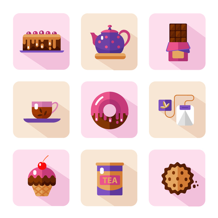 cup cakes: Vector flat style icons of tea party and sweets products. Dessert icons set. Cup, teapot, tea can, tea bag, donut, chocolate, cake, cookie, muffin.