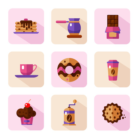 liquorice: Vector flat style icons of coffee and sweets products. Dessert icons set. Cup, coffee grinder, coffee maker, donut, chocolate, cake, cookie, pancakes, muffin.