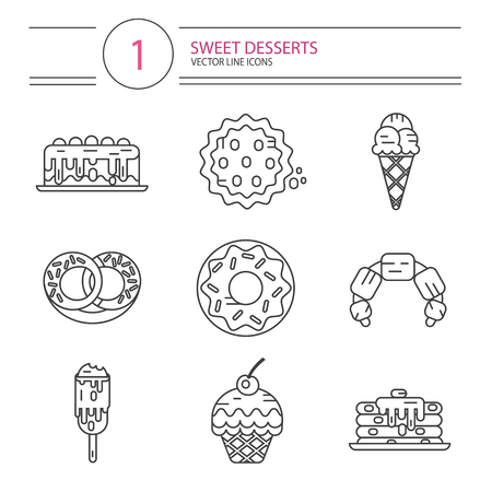 donut style: Vector modern line style icons set of sweets and candies products. Dessert icons set. Donut with glaze, cake, cookie, croissant, pretzel, pancakes, muffin, ice creams.