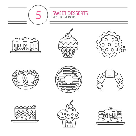 donut style: Vector modern line style icons set of sweets and candies products. Dessert icons set. Donut, cake, cookie, croissant and pretzel, pancakes, muffin.