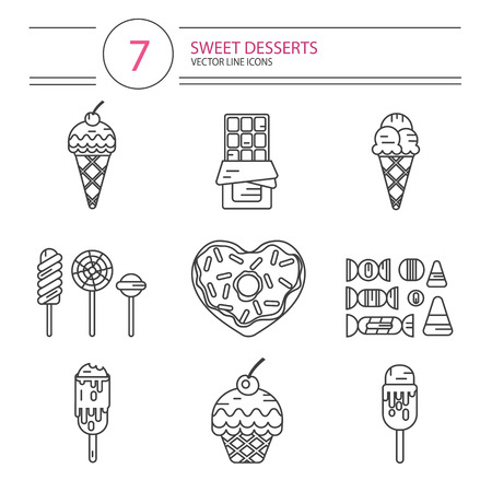 donut shape: Vector modern line style icons set of sweets and candies products. Dessert icons set. Donut with glaze in heart shape, lollipops, chocolate, muffin, different types of ice creams and candies. Illustration