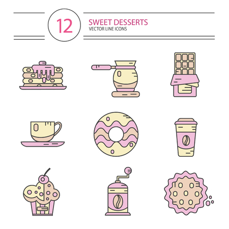liquorice: Vector modern line style icons set of coffee and sweets products. Dessert icons set. Cup, coffee grinder, coffee maker, donut, chocolate, cake, cookie, pancakes, muffin.