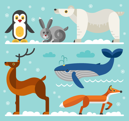 polar fox: Geometric flat style north and arctic animals: penguin, hare, polar white bear, fox, deer, whale. Flat vector illustration set.