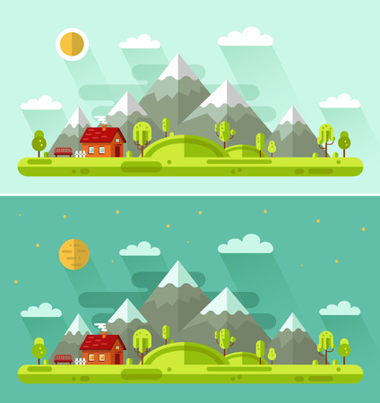 night and day: Flat design vector nature summer landscapes illustration with house, bench, sun, hills, mountains, moon, clouds, trees. Day and night landscapes.