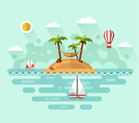 Flat design vector nature landscape illustration with tropical island, sun, palm, coconut, hammock, sailing boat, air balloon. Summer vacation on tropical island. Perfect holidays concept.