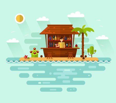maldives island: Flat style vector illustration of cocktail bar with smiling barman on tropical beach. Ocean coast, palm, sun, coconut, cocktails, bottles, drinks. Summer vacation on tropical island.
