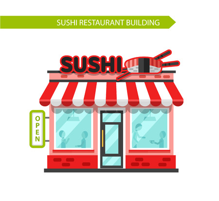Vector illustration of sushi bar or chinese restaurant building facade. Signboard with big sushi roll, chopsticks. Flat style vector illustration. Isolated on white background.