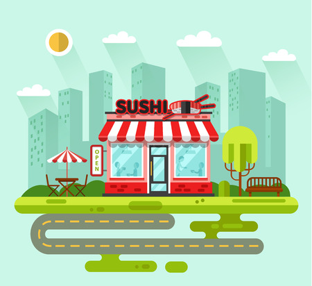 roll bar: Vector flat style illustration of City landscape with nice sushi bar or chinese restaurant building, street with road, bench, trees, umbrella, table, chair. Signboard with big sushi roll, chopsticks. Illustration