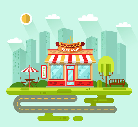 landscape road: Vector flat style illustration of City landscape with nice fast food restaurant building, street with road, bench, trees, umbrella, table and chair. Signboard with big hotdog.