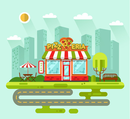 shape vector: Vector flat style illustration of City landscape with nice pizzeria shop building, street with road, bench, trees, umbrella, table and chair. Signboard with slice of pizza in heart shape. Illustration