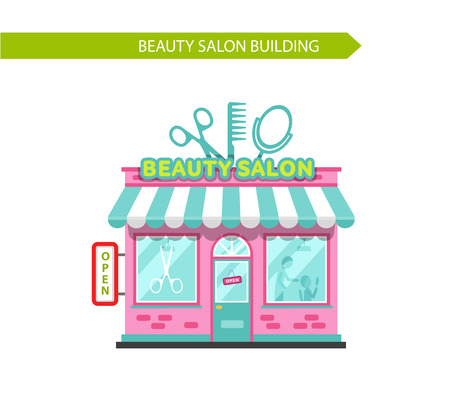 scissors hair: Vector illustration of nice beauty or hair salon building. Signboard with big scissors, hair brush and mirror. Flat style vector illustration. Isolated on white background. Illustration