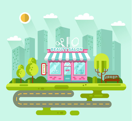 scissors hair: Vector flat style illustration of City landscape with nice beauty or hair salon building, street with road, bench, trees and sun. Signboard with big scissors, hair brush, mirror. Illustration