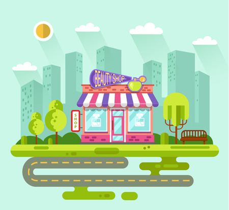 convenience: Vector flat style illustration of City landscape with nice beauty shop or cosmetics store building, street with road, bench, trees and sun. Signboard with big perfume bottle, spray.