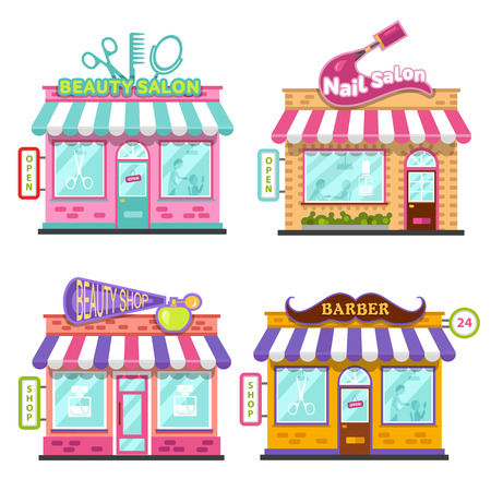 beauty shop: Set of different nice shops with beautiful signboards: beauty salon, barber shop, beauty shop or store, nail salon. Flat vector illustration stock set. Infographic elements.